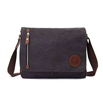 33bdd9c2fe Amazon.com  OURBAG Vintage Canvas Satchel Messenger Laptop Shoulder  Crossbody Sling Bag Black  Drseewd