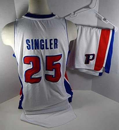 7580f5ea357 Image Unavailable. Image not available for. Color  2013-14 Detroit Pistons  Kyle Singler  25 Game Used White Jersey Shorts - NBA