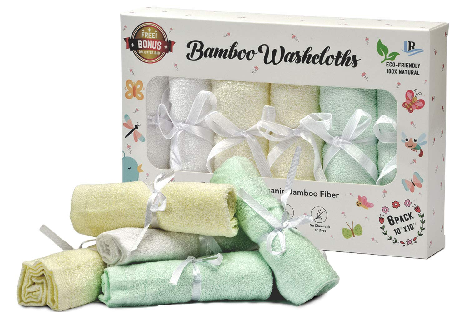 Bamboo Baby Washcloths 6 Pack for Boys & Girls – 100% Organic, 10''X10'', Extra Soft & Absorbent Face Towels, Free Mesh Laundry Bag – Perfect for Sensitive Skin – Great Baby Shower & Registry Gift Set
