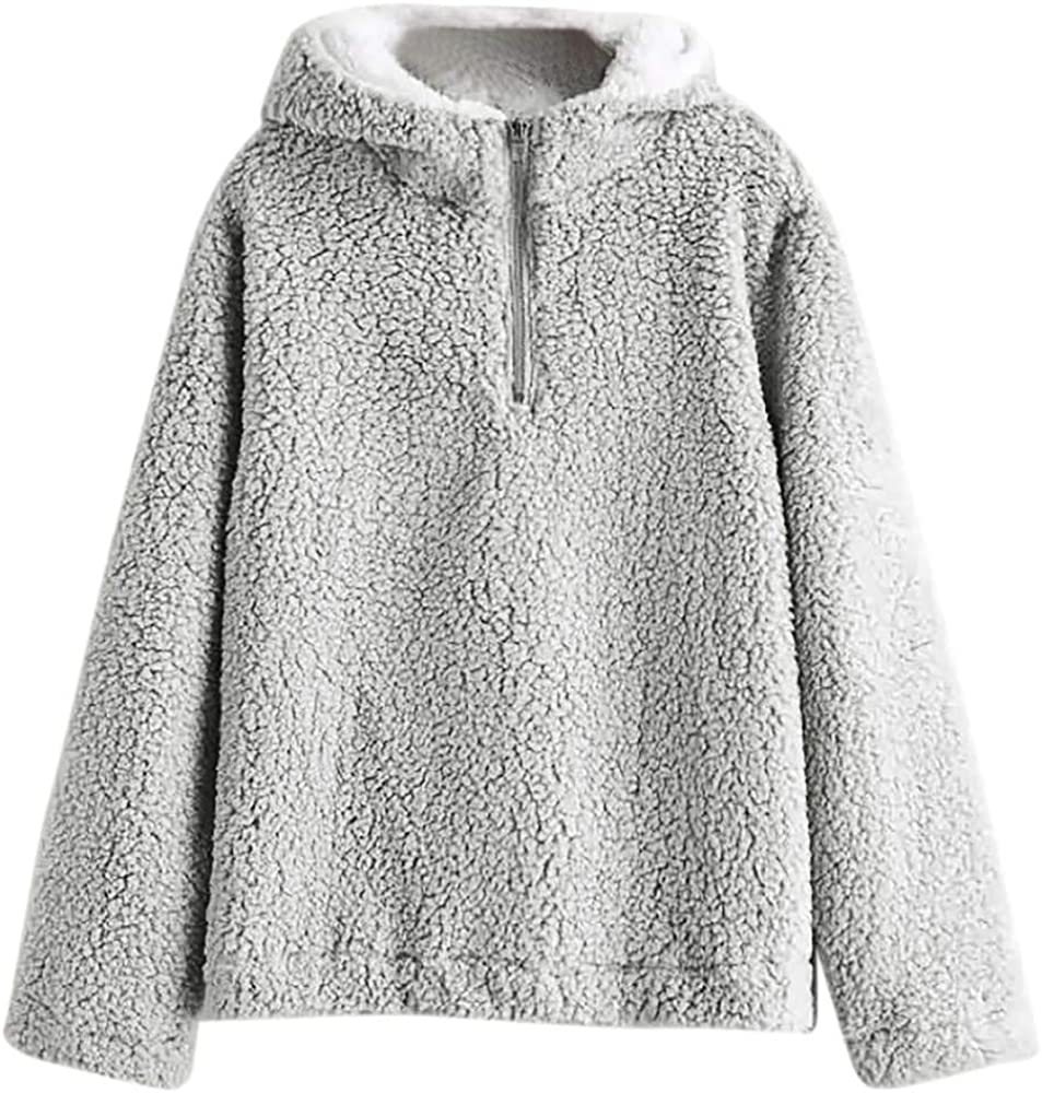 Cathalem Womens Plush Hooded Pullover Sweatshirt Casual Loose 1//4 Zip Jacket Coat with Pockets