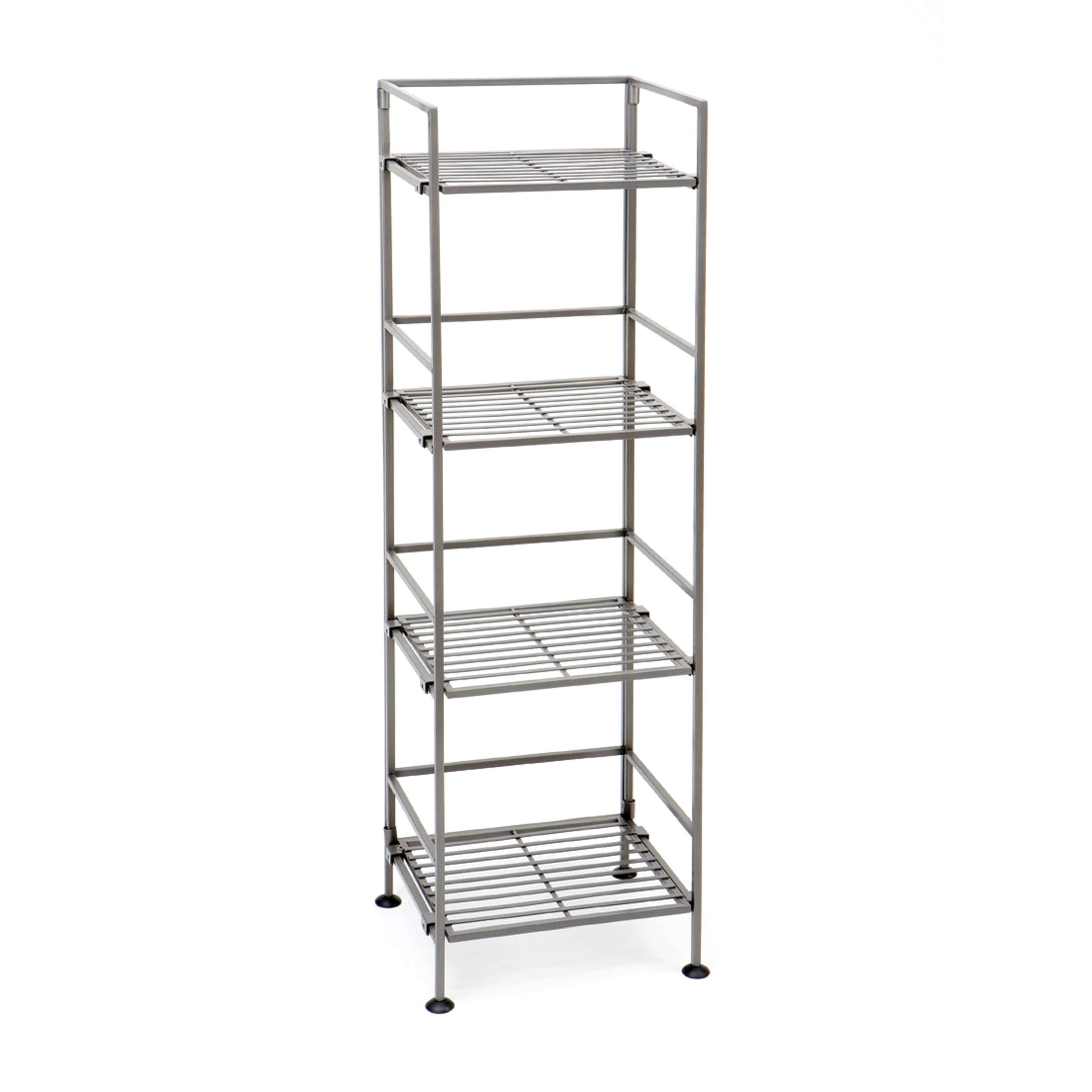 Seville Classics 4-Tier Iron Slat Tower Shelving, (Pewter) by Seville Classics