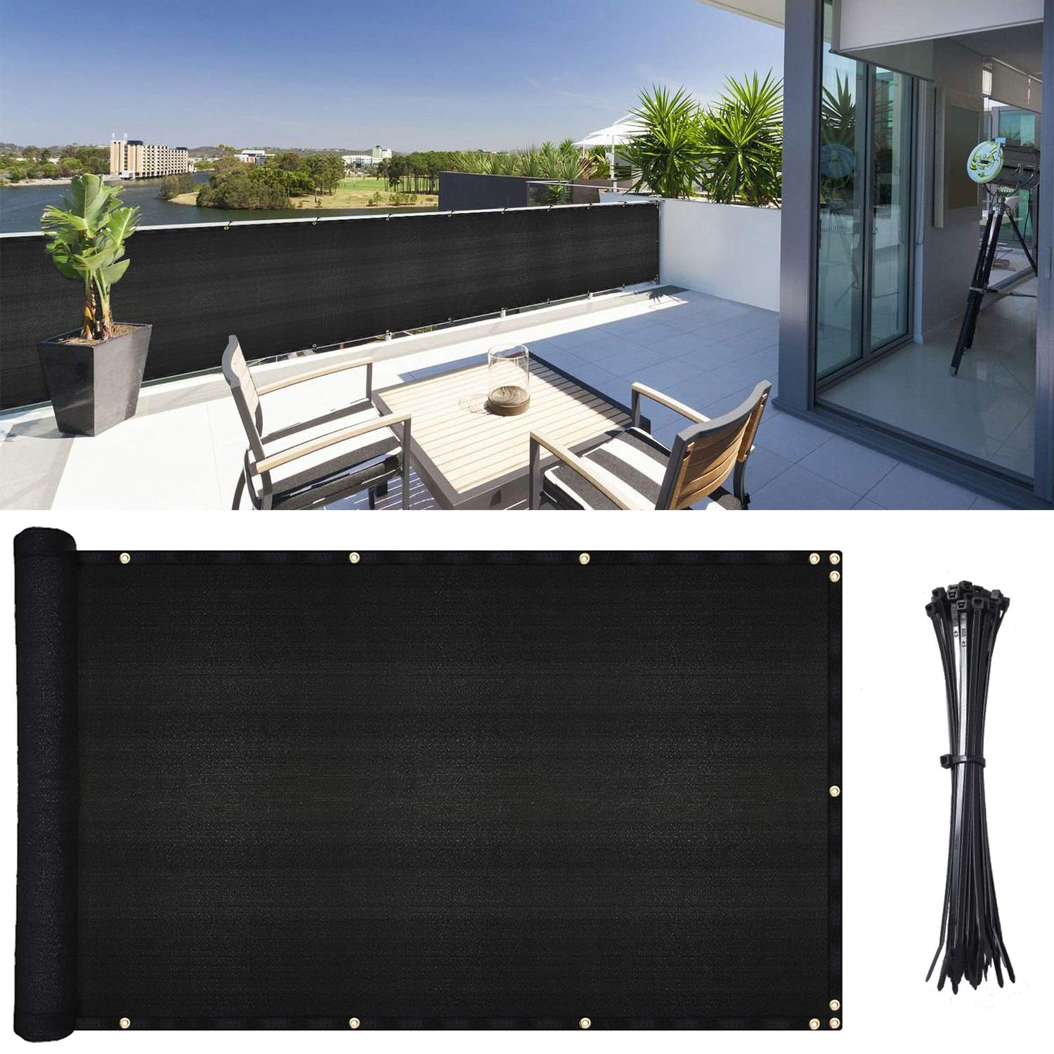 DearHouse Balcony Privacy Screen Cover, 3.5ft x17ft Fence Windscreen for Porch Deck, Outdoor, Backyard, Patio, Balcony to Cover Sun Shade, UV-Proof, Weather-Resistant, Includes 35 pc Black Cable Ties by DearHouse