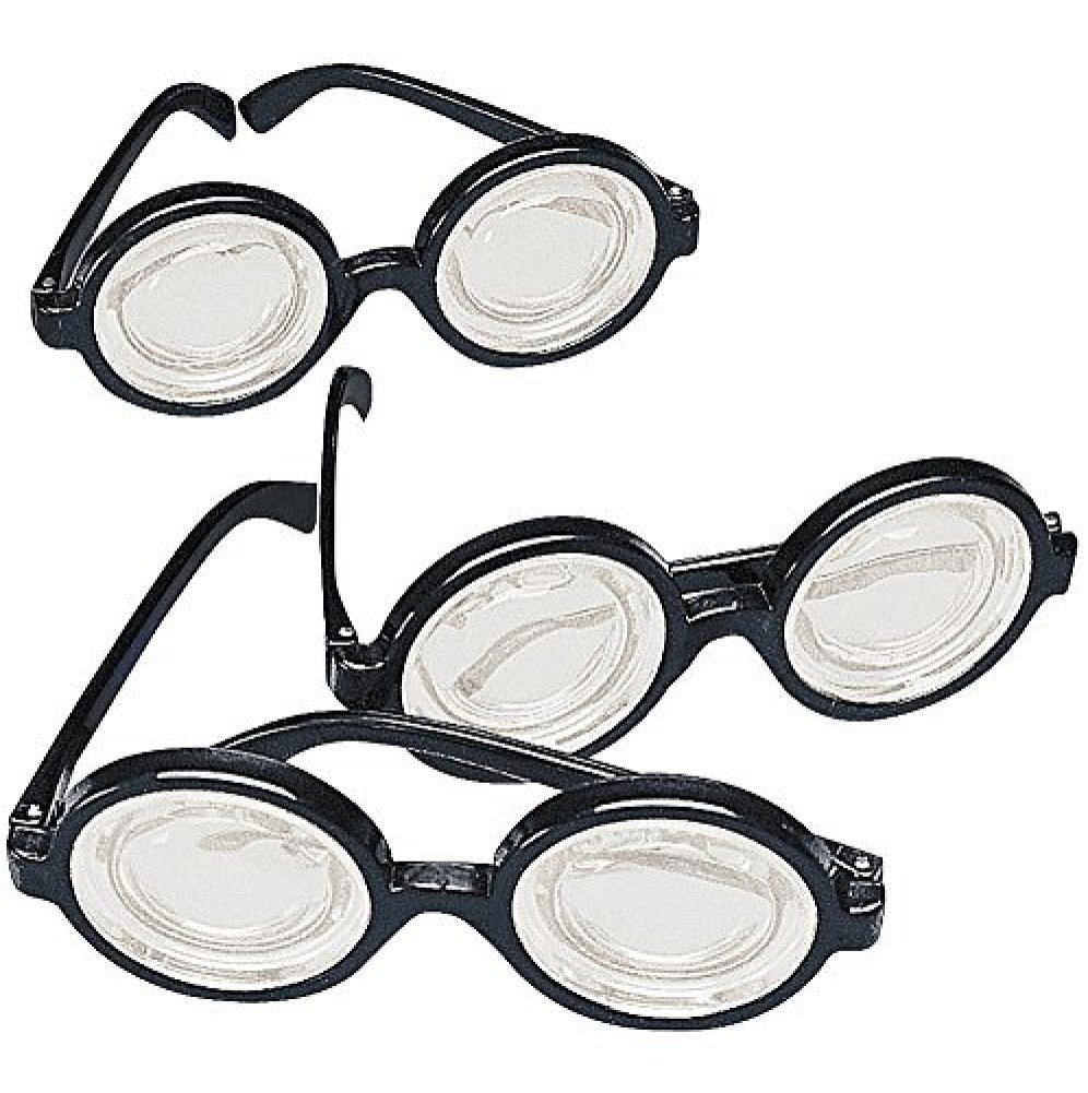 Black Frame Nerd Glasses (12 Pack) Plastic. Costume Party Favors Fun Express 3L-83-347
