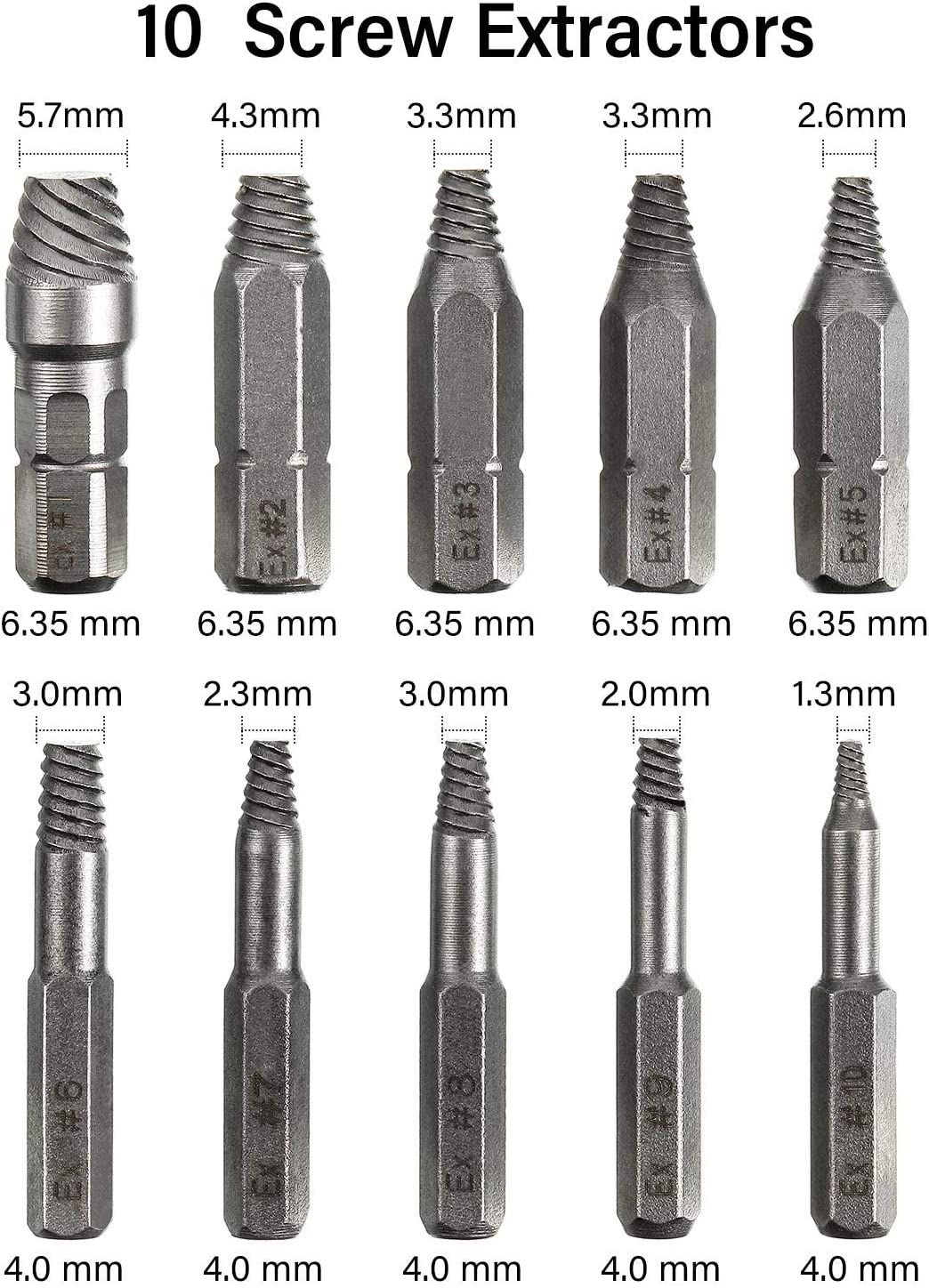 Extractor HSS Bolt Remover Set with Socket Adapter and Extension Drill Bit Holder 22 Pieces Damaged Stripped Screw Extractor Kit Stripping Broken Screw Removal with 10 Different Size Drill Bits
