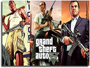 Paint For Kids Large Canvas Best Grand Theft Auto 5 Wall Art Home Decor Decals Poster 12x8inch