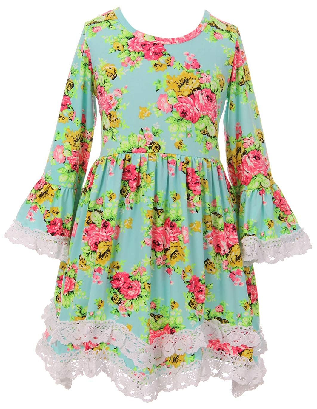 a68ae200b19 Amazon.com  Little Girls Lovely Floral Birthday Party School Holiday Flower  Girl Dress 2T-8  Clothing