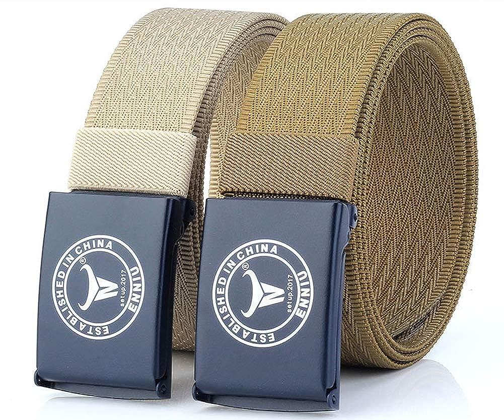 JANYN Men Nylon Web Belts Solid Military Tactical Style Wide Flip Buckle Belt