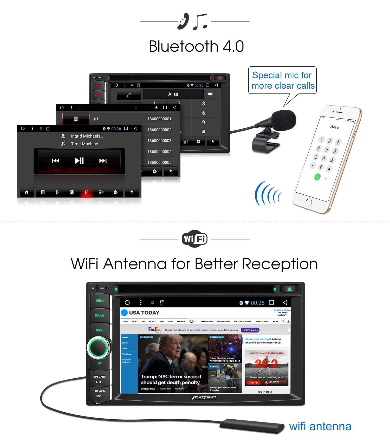 Android 7.1 Head Unit Double Din, Octa Core 32GB+ 2GB Car Stereo DVD CD Player with Navigation, Support Android Auto, Bluetooth, WIFI, MirrorLink, Backup Camera, AUX, Dash Cam, 6.2 Inch Touch Screen by PUMPKIN (Image #4)