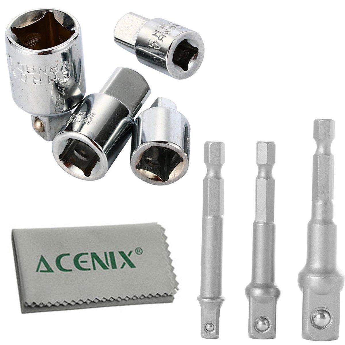 ACENIX® 4Pcs Set para adaptador de vaso conversor y reductor Set y 3pcs extensión Bit para taladro (1/4\', 3/8\', 1/2\'(incluye paño de limpieza [7pcs Kit] 3/8 1/2(incluye paño de limpieza [7pcs Kit]