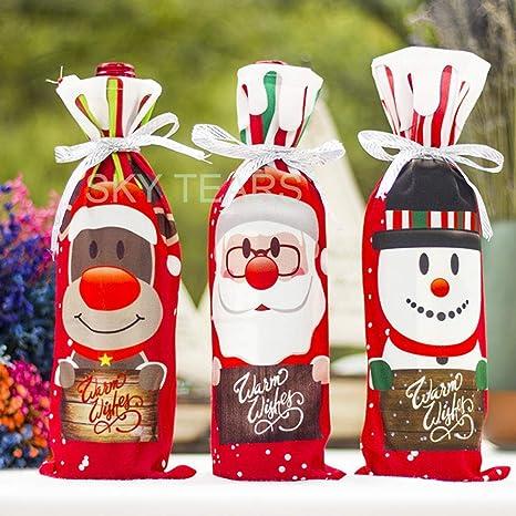 3 PCS Bolsas para Botellas de Vino Regalo Navidad Botella de Vino Bolsas Decoración Bolsa de Regalo de Navidad (C)
