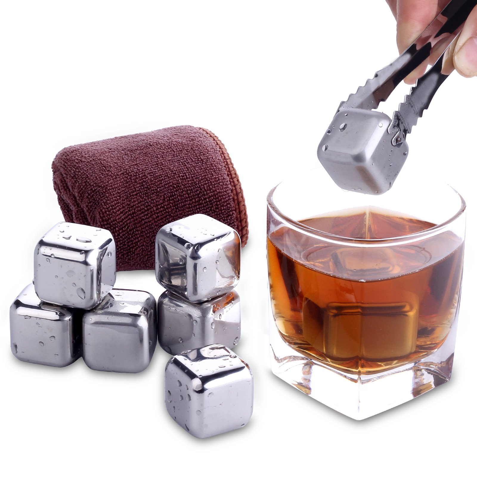 NZACE Reusable Whiskey Stones Ice Cube, 8 Piece Gift Set Metal Stainless Steel Scotch Whiskey Chilling Stones for whiskey, vodka, liqueurs, white wine and Drink with Nonslip Tongs and Ice Cube Tray