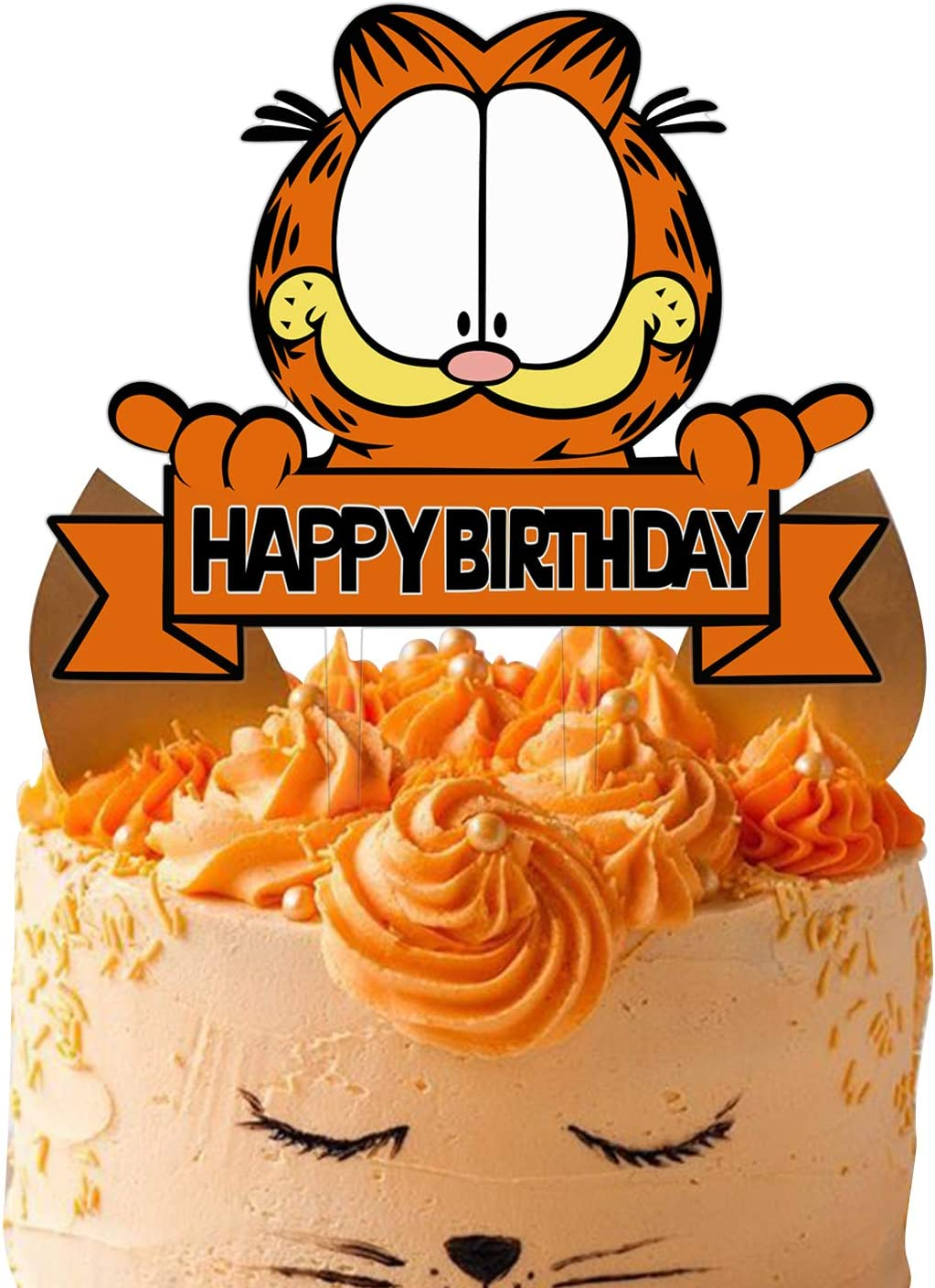 Acrylic Garfield Happy Birthday Cake Toppers, Garfield Cake Decor Garfield Theme Birthday Party Baby Shower Decoration Supplies, Kids Bday Party Favor