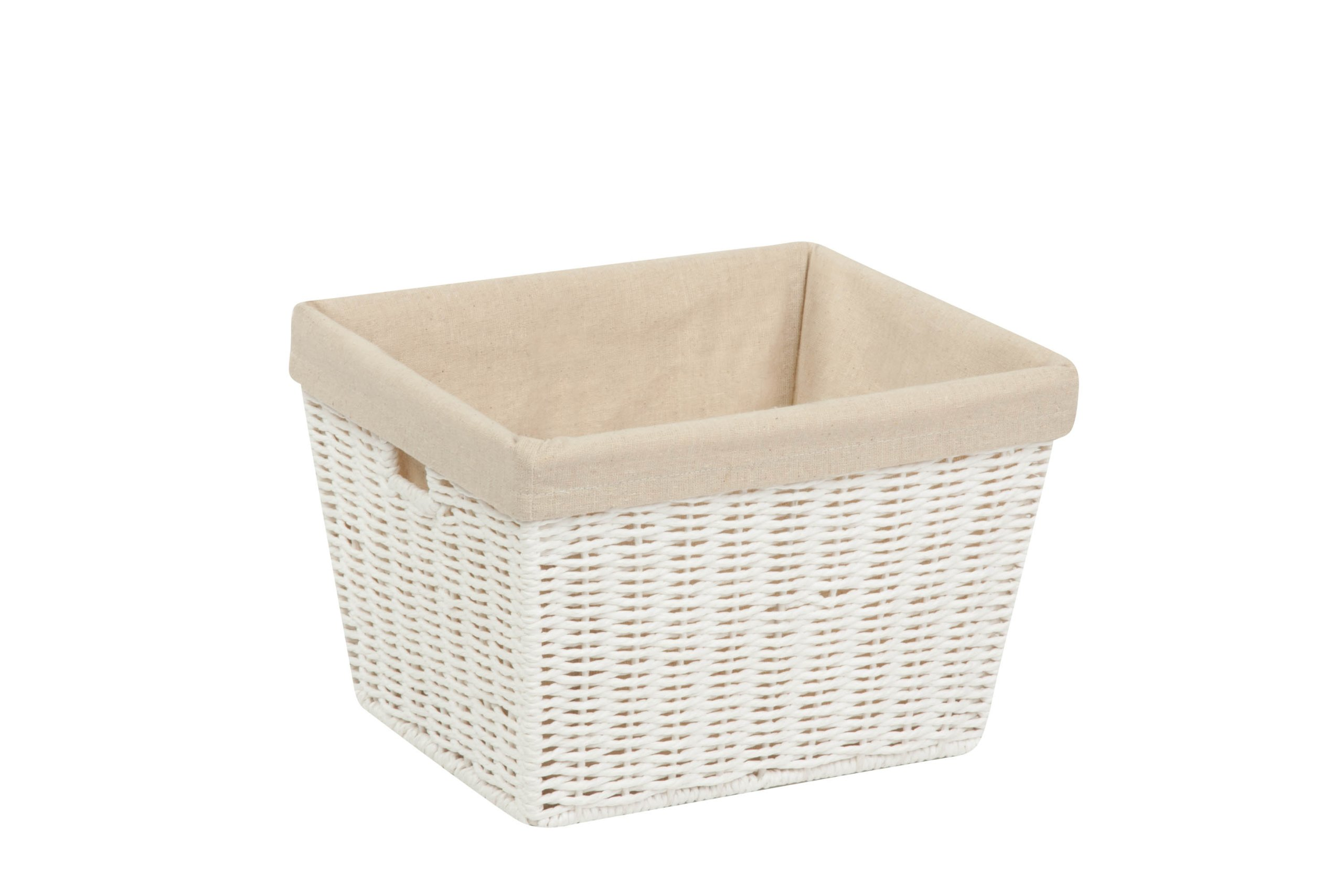 Honey-Can-Do STO-03560 Parchment Cord Basket with Handles and Liner, White, 10 x 12 x 8 inches