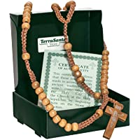 Christian Catholic Wooden Beige Rosary Prayer Beaded Cross Crucifix Christ Jesus Necklace for Auto Car for Men Women…