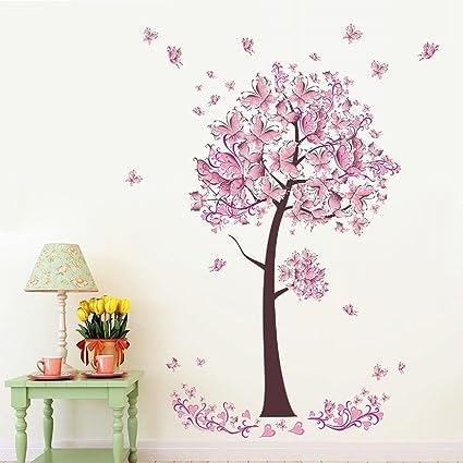 Adesivi Floreali Da Parete.Albero Fiore Farfalle Floreali Adesivi Murali Decalcomanie