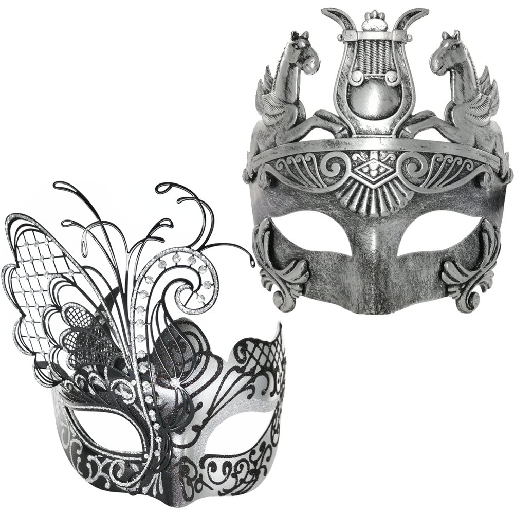 Venetian Masquerade Couple Mask For Black Butterfly & Roman Mask-Elastic Band HULIANZHONG LM1+HD1-BK
