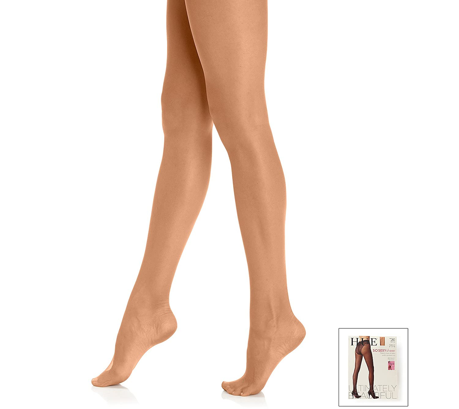 d40001617842f HUE French Lace Panty Pantyhose with Control Top at Amazon Women's Clothing  store: