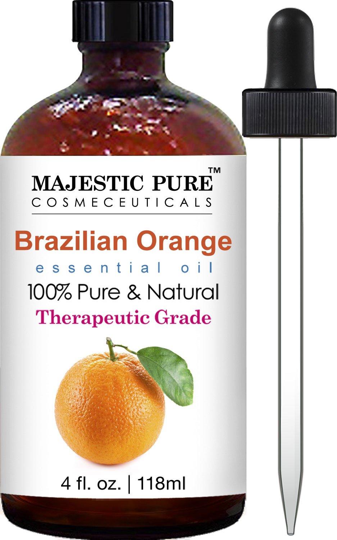 Majestic Pure Brazilian Orange Essential Oil, 100% Pure and Natural with Therapeutic Grade, Premium Quality Brazilian Orange Oil, 4 fl. oz