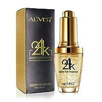 24K Gold Foil Essence Anti Aging & Wrinkle Moisturizing Firming Face Serum Treatment for Women Skin Care Hyaluronic Acid Liquid (30ml)
