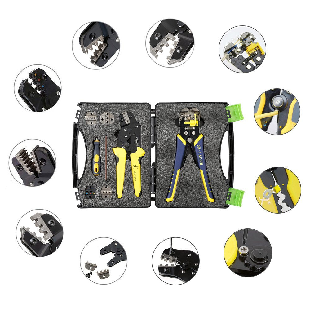 KKmoon Wire Crimpers Cord End Terminals Pliers Kit 0.14-6mm² Adjustable Crimping Range With Carbon Steel + Alloy