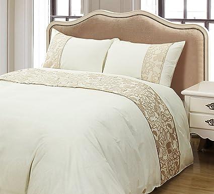 Amazon Com Zigguo Luxury Golden Beige Floral Duvet Cover Set King