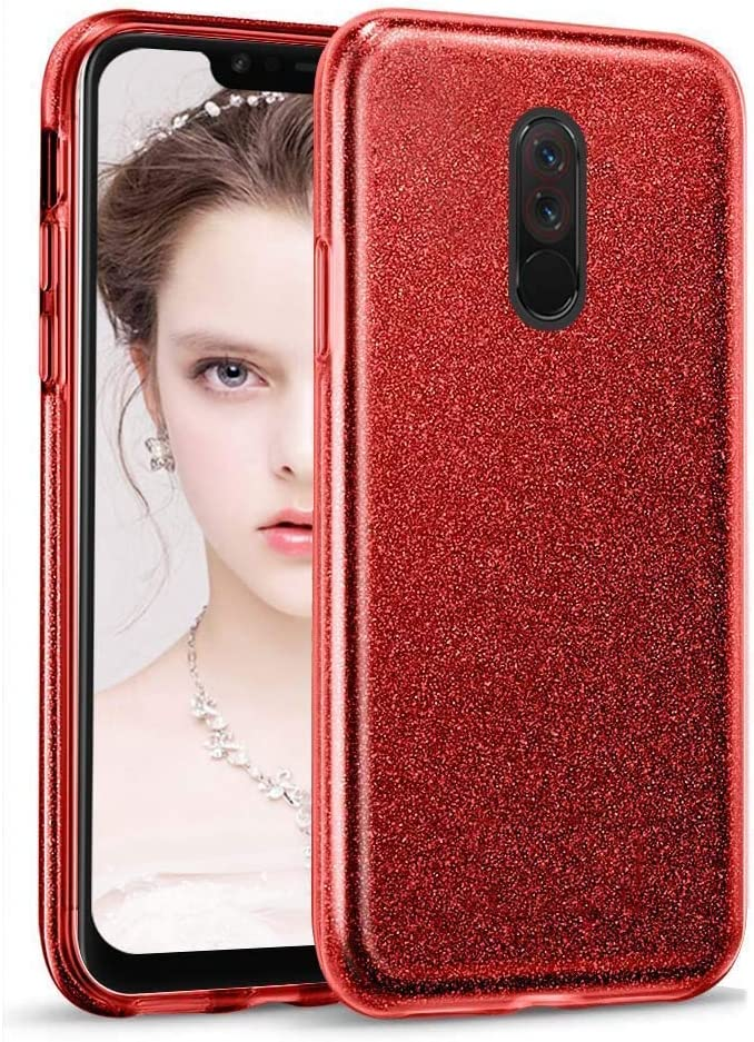 Coovertify Funda Purpurina Brillante Red Rose Xiaomi Redmi 5 Plus, Carcasa roja Resistente de Gel Silicona con Brillo Rojo Rosa para Xiaomi Redmi 5 Plus (5,99