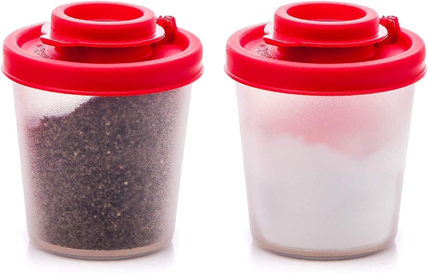 Moisture Proof Salt Pepper Shakers Pots Flip Top Glass Table Condiment Bottles