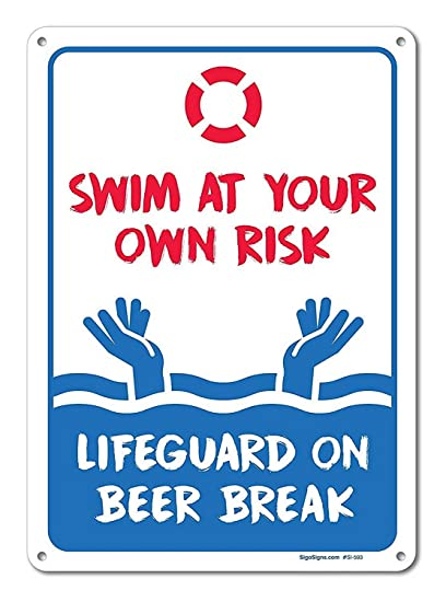 Amazon com: A Homim Collectible Signs Pool Signs - Swim at