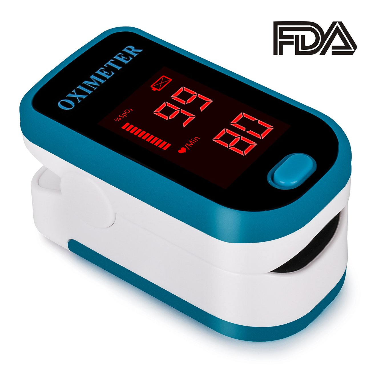 Fingertip Pulse Oximeter Blood Oxygen Saturation Monitor with silicon cover,Lanyard(Batteries not include)