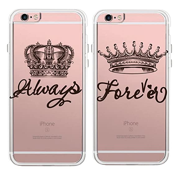 sneakers for cheap fc940 3d59a Couples Matching King Queen Crown Lovers Clear Soft TPU Rubber Phone  Protective Cover Cases