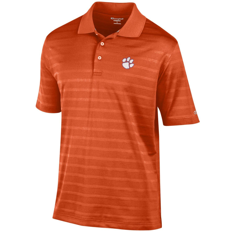 Champion メンズ NCAA テクスチャードストライプ パフォーマンス ゴルフポロ L Large Clemson Tigers-Orange B07KLGRJKH