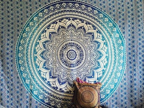 Indischer Überwurf Hippie Gypsy, künstlerische Deko fürs Wohnheim, 100% Baumwolle, handbedruckt, Stempeldruck, Mandala-Wandteppich für den Strand/als Tagesdecke