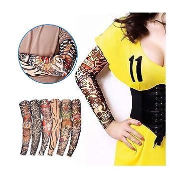 6ca593ee4 Amazon.com : 6STARSTORE 6 pcs new nylon elastic fake temporary tattoo sleeve  designs body arm stockings tatoo for cool men women : Beauty