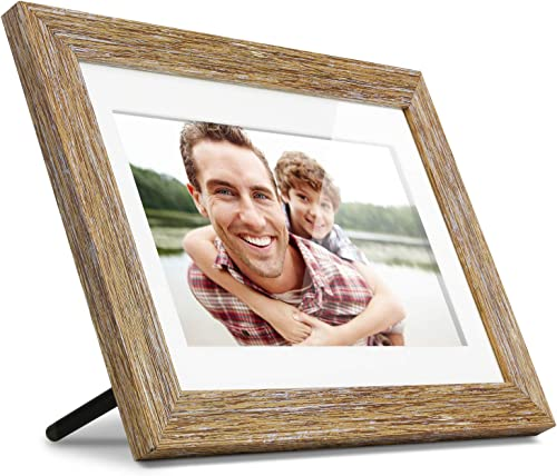Aluratek 10 Distressed Wood Digital Photo Frame with Auto Slideshow, 1024 x 600 ADPFD10F , 10 Wood Border, 10 Inch