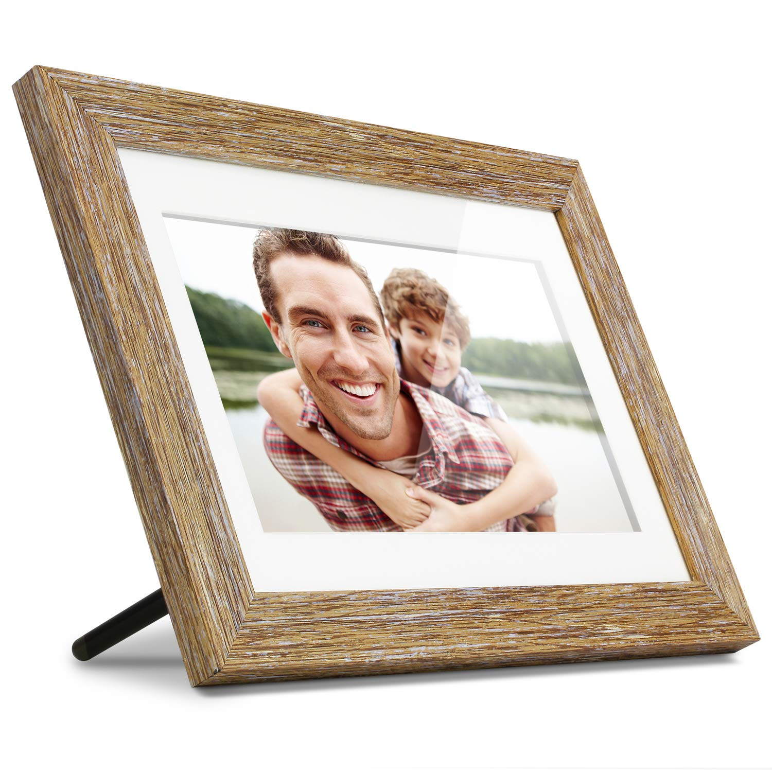 Aluratek (ADPFD10F) 10 Inch Digital Photo Frame with Auto Slideshow, Distressed Wood Border, 1024 x 600, 16: 9 Aspect Ratio, Wall Mountable by Aluratek