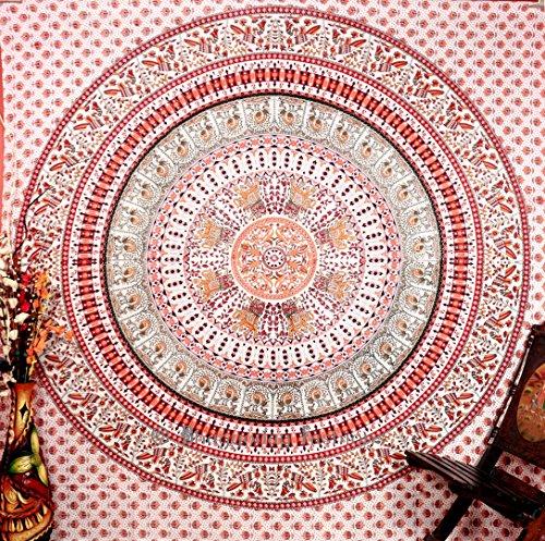 "Kaleidoscopic Indian Ethnic Elephant White Orange Peacock Hippie Hippy Blue Mandala Cotton Tapestry Wall Hangings Throw 86x94"""