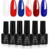 Beetles Red White and Navy Blue Gel Nail Polish Set - 6 Pcs Colors Royal Blue Glitter Gel Polish Color Changing, Soak…