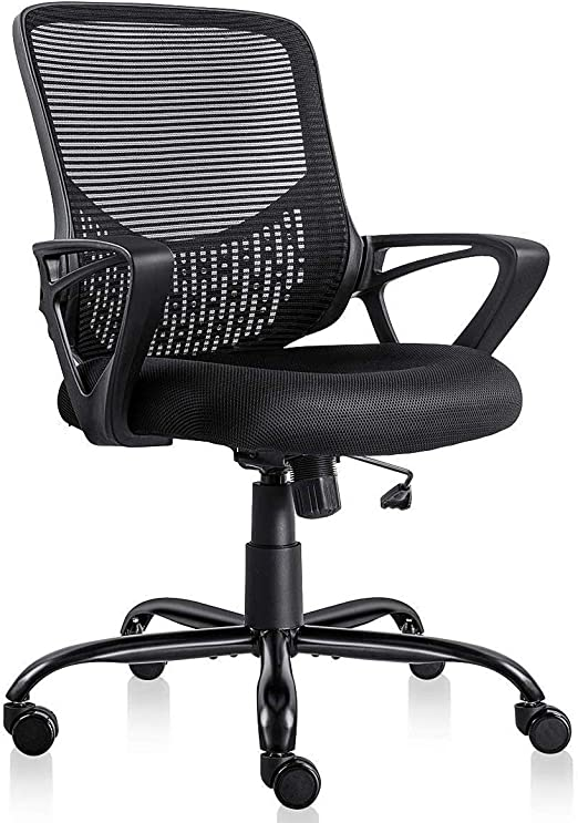 Amazon Com Ergonomic Office Desk Chair Adjustable Mesh Swivel Home Task Chairs With Padded Seat And Armrest Black Kitchen Dining