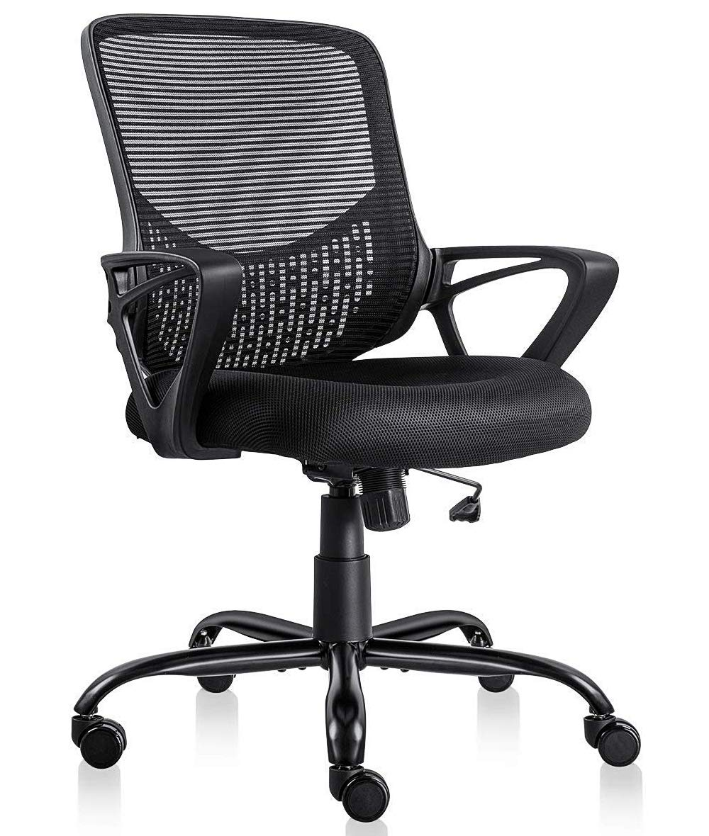 Ergonomic Office Desk Chair Adjustable Mesh Swivel Home Task Chairs with Padded Seat and Armrest Black by SMUGDESK
