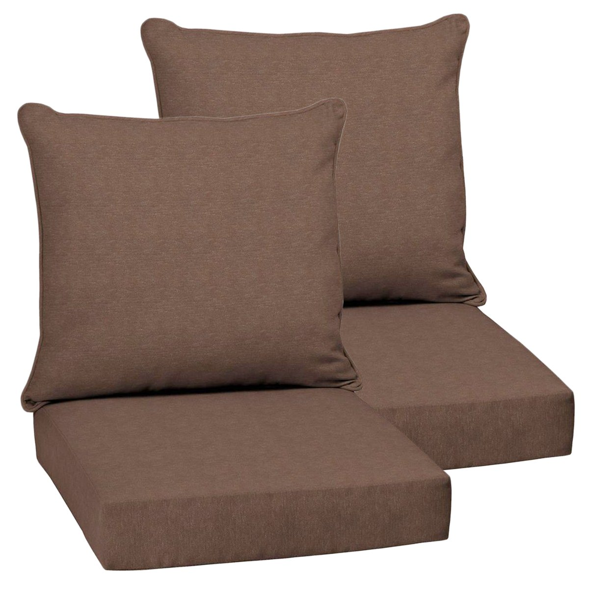 Set of 2 Deep Seating Outdoor Dining Chair Cushions 24''x 46.5''x 5.75''T; H-24 in Olefin Fabric Chocolate Lamar Texture by Comfort Classics