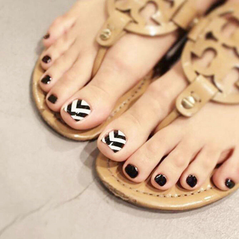 Amazon.com : 24Pcs False Toe Nail for Women and Girls Glitter ...