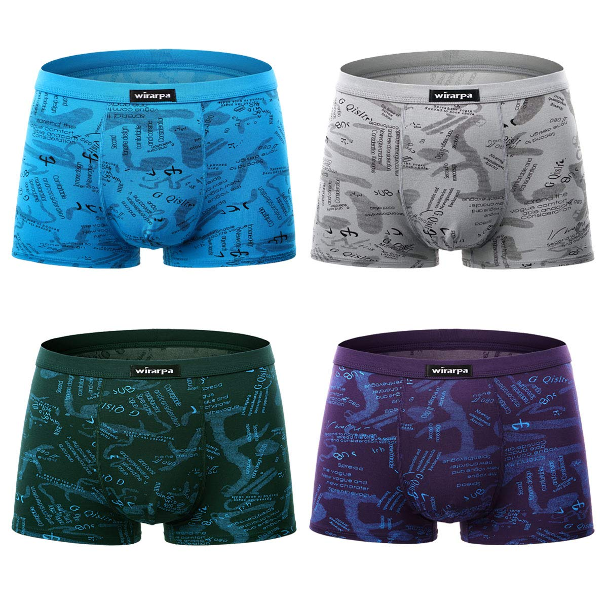 wirarpa Men's 4 Pack Micro Modal Underwear Ultra Soft Microfiber Trunks Covered Waistband Short Leg S-3XL MEN-BOXERS-01