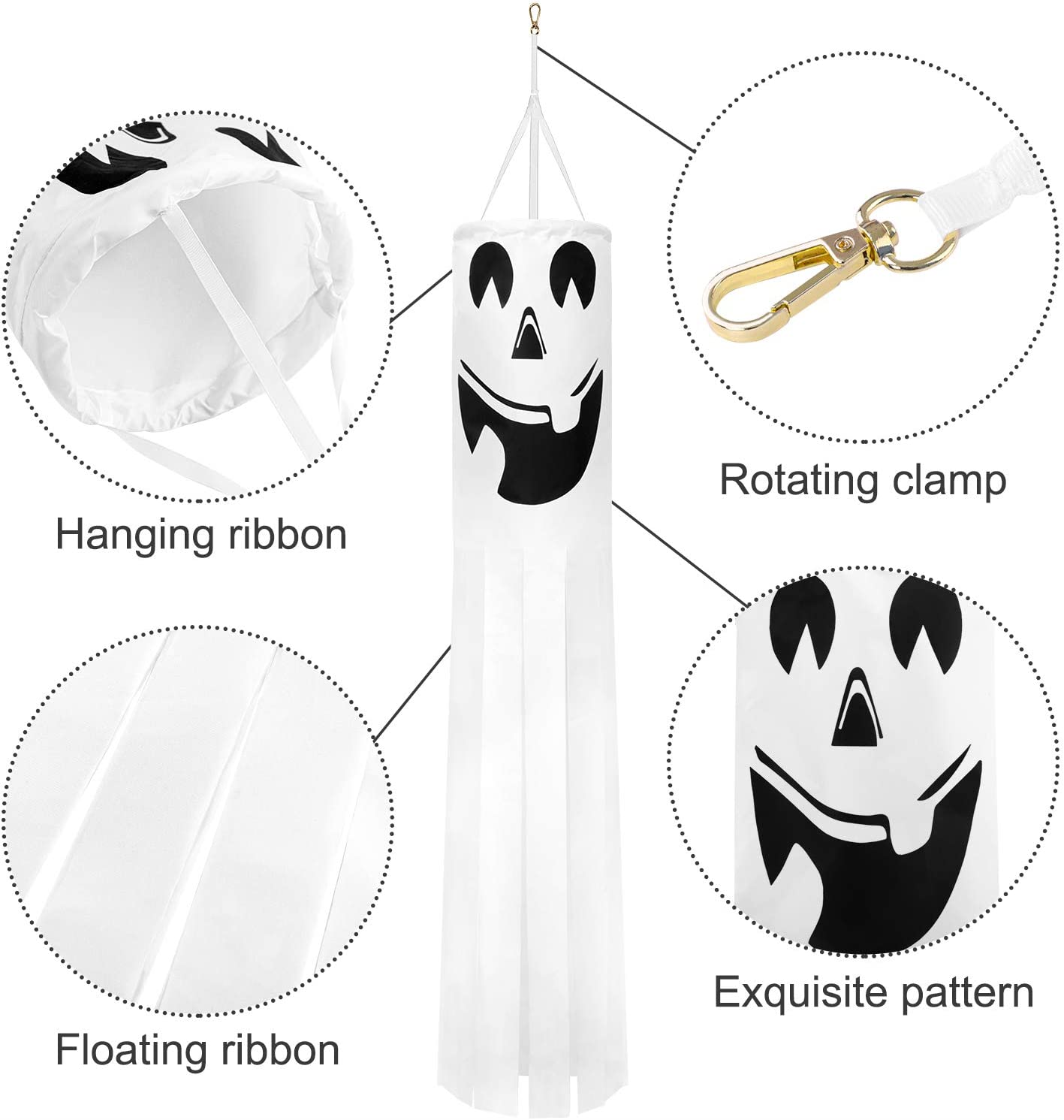 URATOT 2 Pack Halloween Ghost Windsock Flag Halloween Hanging Ghost Decorations 40 Inch Windsock Outdoor Hanging Decoration for Front Yard Patio Lawn Garden Party Decor