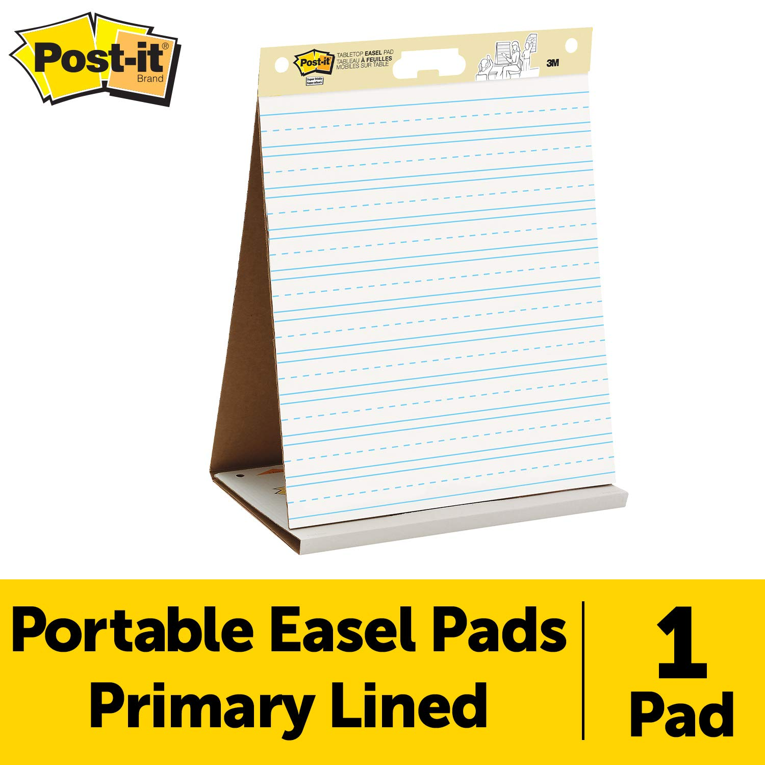 Post-it Super Sticky Tabletop Easel Pad, 20 x 23 Inches, 20 Sheets/Pad, 1 Pad (563PRL), Portable White Premium Self Stick Flip Chart Paper with Primary Lines, School Paper, Built-in Easel Stand