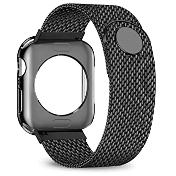 jwacct Compatible for Apple Watch Band with Screen Protector 38mm 40mm 42mm 44mm, Soft TPU Frame Case Cover Bumper Compatible for iwatch Series ...