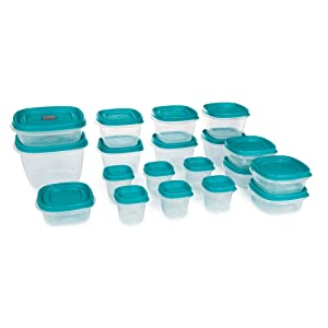 Easy Find Vented Lids Food Storage Containers Set of 19 (38 Pieces Total) Plastic Containers | Reusable and Stackable Meal Prep Containers - Teal (Teal)