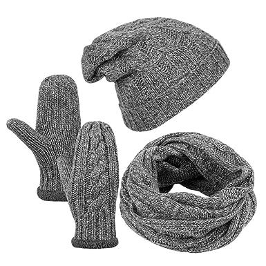Vbiger Écharpe et gants en étui à rayures en tricot pour hommes Ensemble  hiver en tricot 3b95004e821