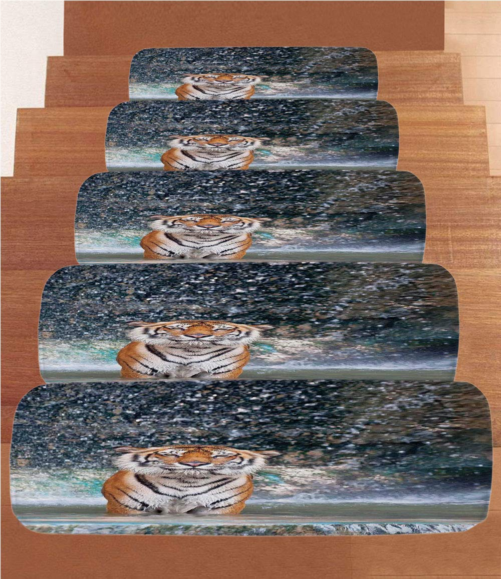 iPrint Non-Slip Carpets Stair Treads,Waterfall,Image of a Large Majestic Tiger in The Waterfall Exotic Wildlife Animal in Nature,Multi,(Set of 5) 8.6''x27.5''