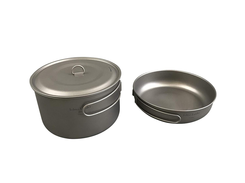 Jolmo Lander Juego de Utensilios de Cocina de Titanio, Olla de 1950 ml, sartén D175 mm Titanio 2 Piezas Conjunto Corto: Amazon.es: Deportes y aire libre