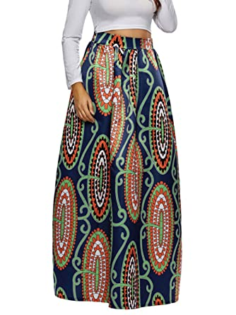 dd806da60 Women's African Floral Print Maxi Skirts A Line Long Skirts with Pocket  Blue Size ...
